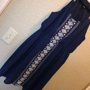 navy blue flowy halter dress